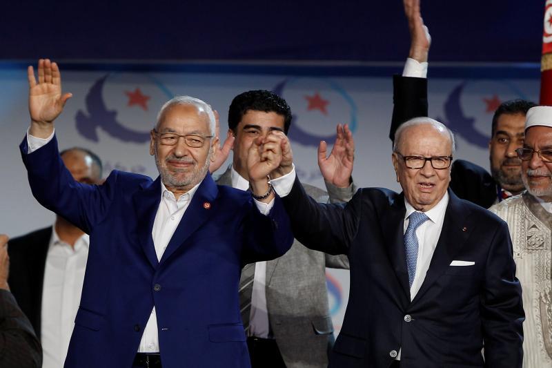 Essebsiand Ghannouchiin Tunis, May2016