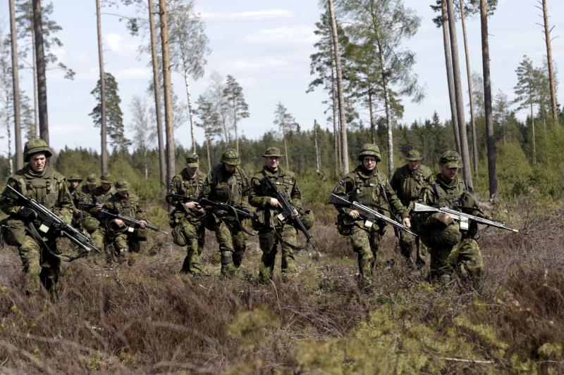 Estonian soldiers take part in NATO military exercises at the Tapa training range in Estonia, May 2015.