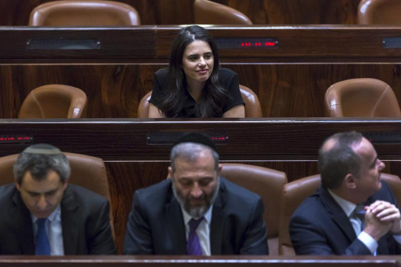 Shaked sits in the plenum before being sworn-in as Justice Minister at parliament in Jerusalem, May 2015.