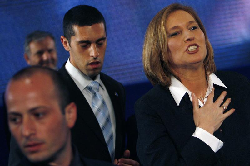 Livni acknowledges her supporters at Kadima party headquarters in Tel Aviv, February 2009.