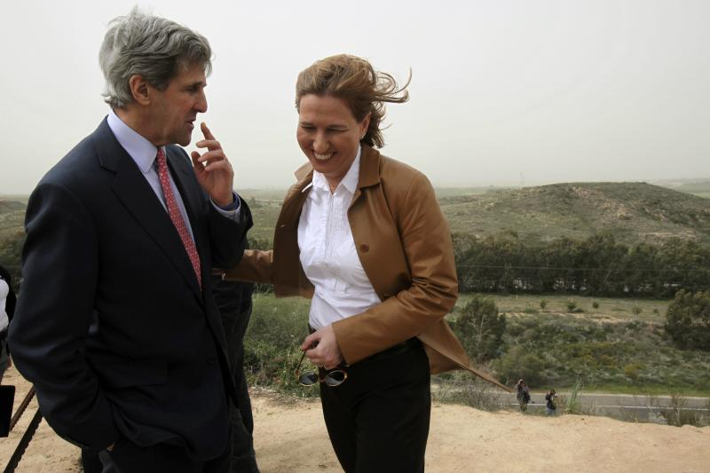 U.S. Senator John Kerry and Livni stand together at an observation point overlooking the northern Gaza Strip, February 2009.