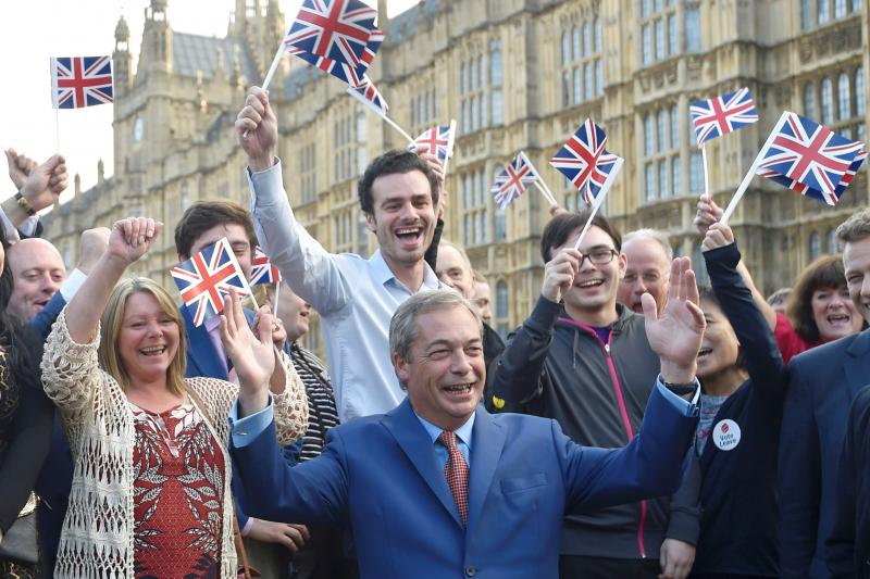 The UK Independence Party's Nigel Farage, the man behind Brexit, addresses supporters in London, June 2016.