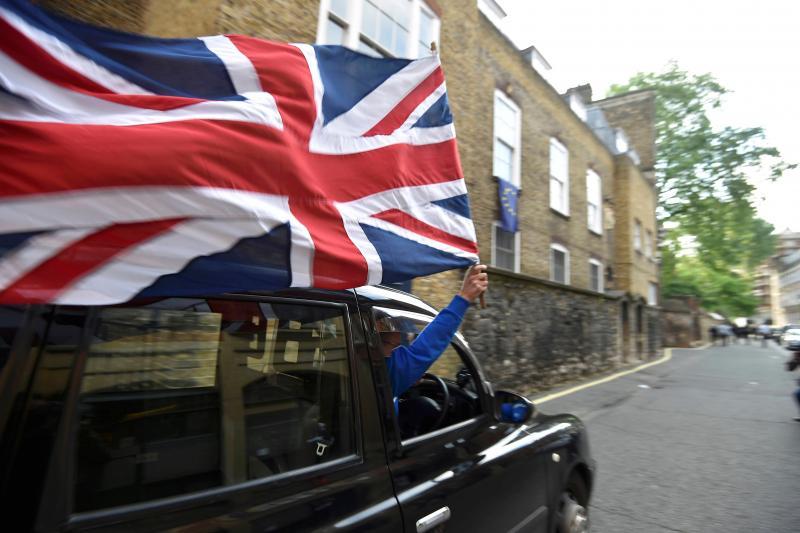 A London cab driver celebrates Brexit, June 2016.