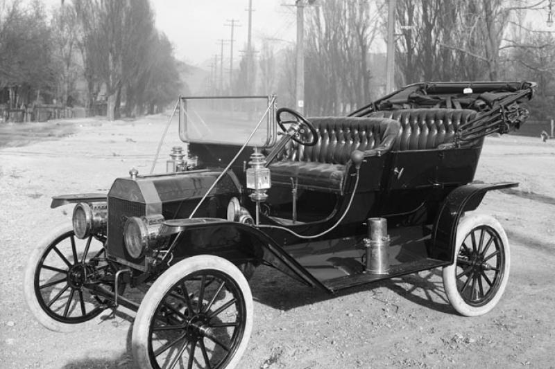 A Ford Model T, the first affordable automobile, in Salt Lake City, 1910.