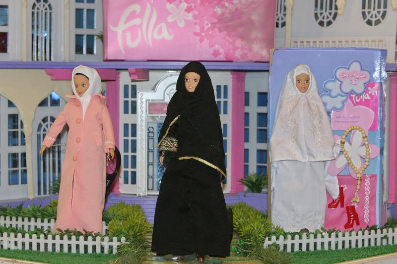 Fulla, the new Arabic doll in the Islamic form, is displayed in various Arabic outfits in Damascus, October 2005.