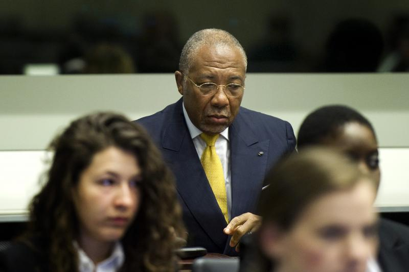 Former Liberian President Charles Taylor in court near The Hague, the Netherlands, May 2012.