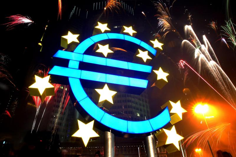 Fireworks explode outside the European Central Bank to celebrate the introduction of the euro, January 2002.