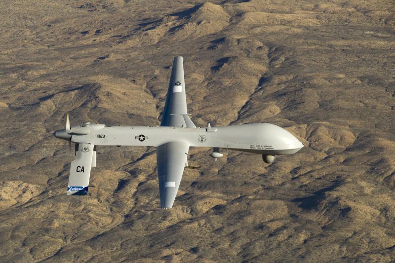A U.S. Air Force MQ-1 Predator unmanned aerial vehicle flies over California, January 2012.