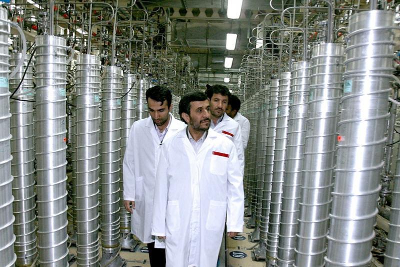 Iranian President Mahmoud Ahmadinejad visits the Natanz nuclear enrichment facility, April 2008.