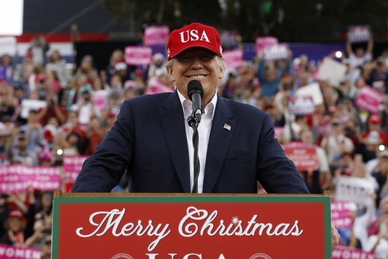 """Trump speaks during his """"Thank You Tour"""" in Mobile, Alabama, December 2016."""