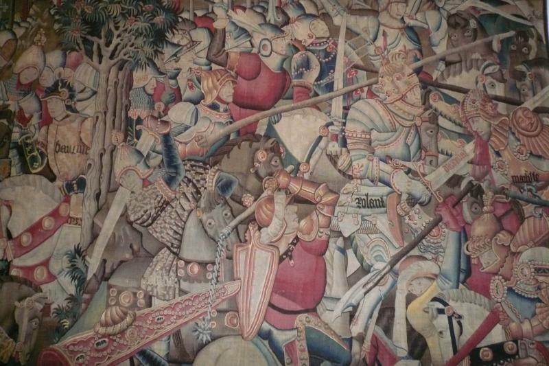 Detail of a fifteenth-century tapestry depicting the Battle of Roncevaux.