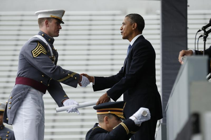 Obama after his commencement address at West Point, May 2014.