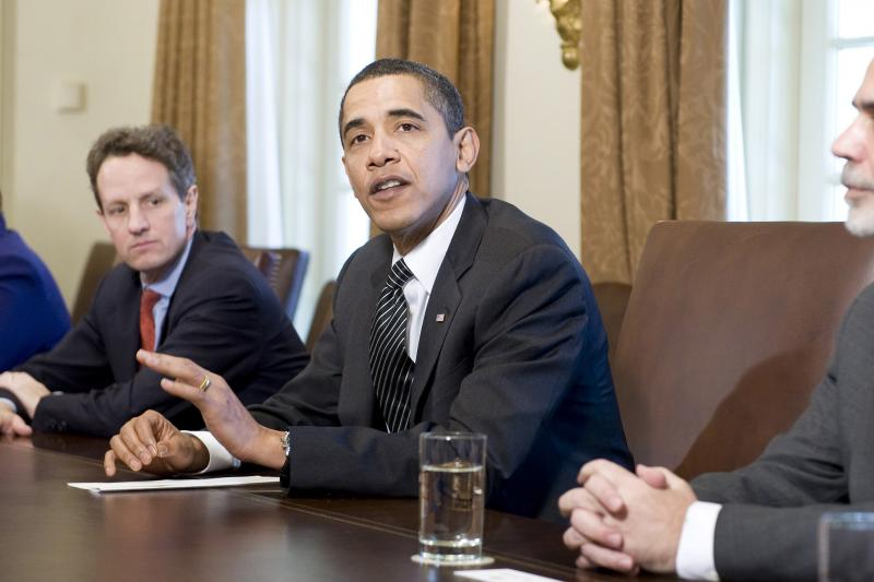 Obama with top economic advisers at the White House, March 2009.
