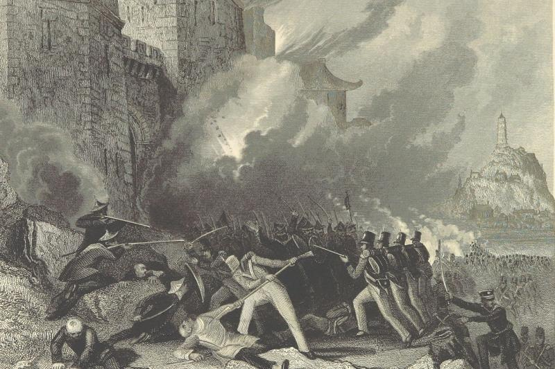 An 1858 illustration depicts British troops capturing Zhenjiang in the last major battle of the First Opium War