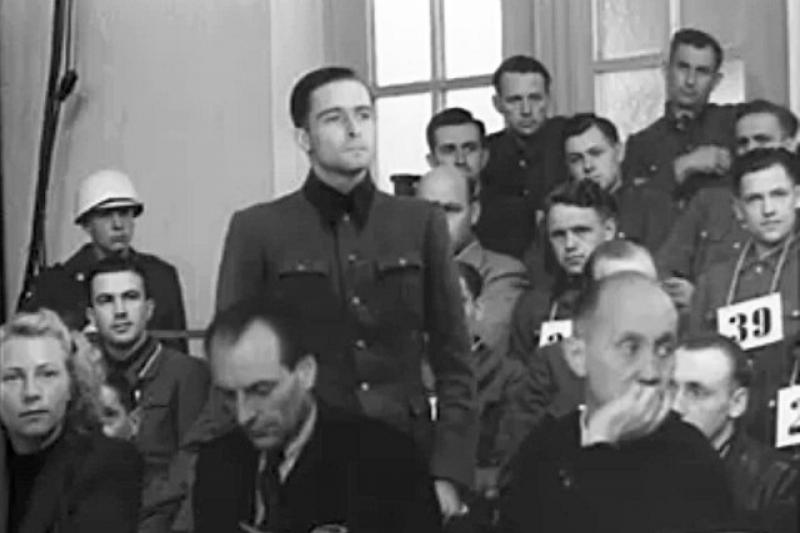 Joachim Peiper and other defendants at trial in 1946.