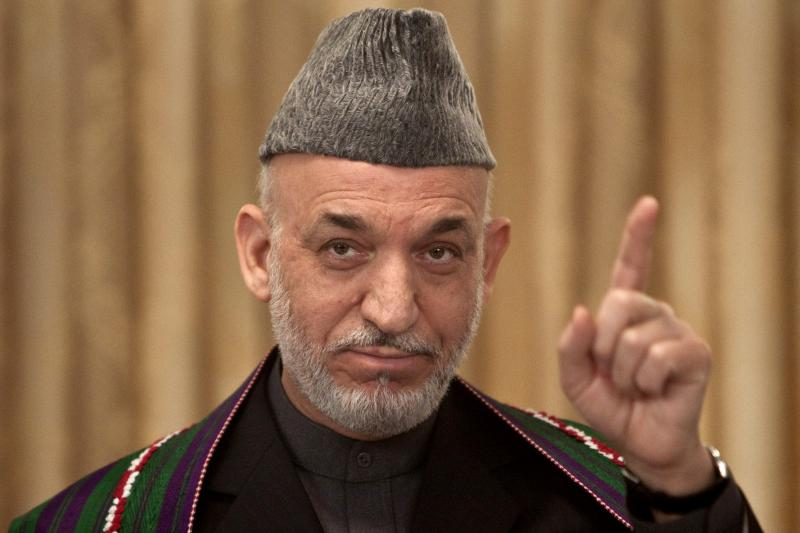 Hamid Karzai, then Afghan president, during a news conference in Kabul, November 2009.