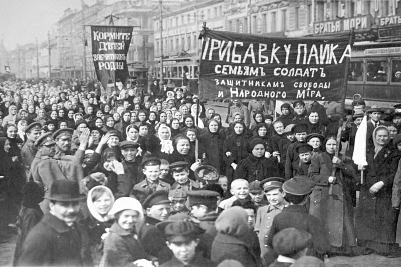 Workers demonstrate in Petrograd during the February Revolution, 1917.