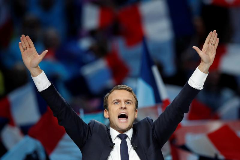 Macron at a campaign rally in Paris, April 2017.