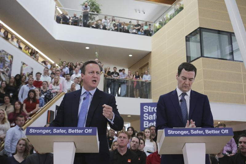Cameron and Osborne campaign for Remain at a B&Q Store Support Office in Chandler's Ford, United Kingdom, May 2016