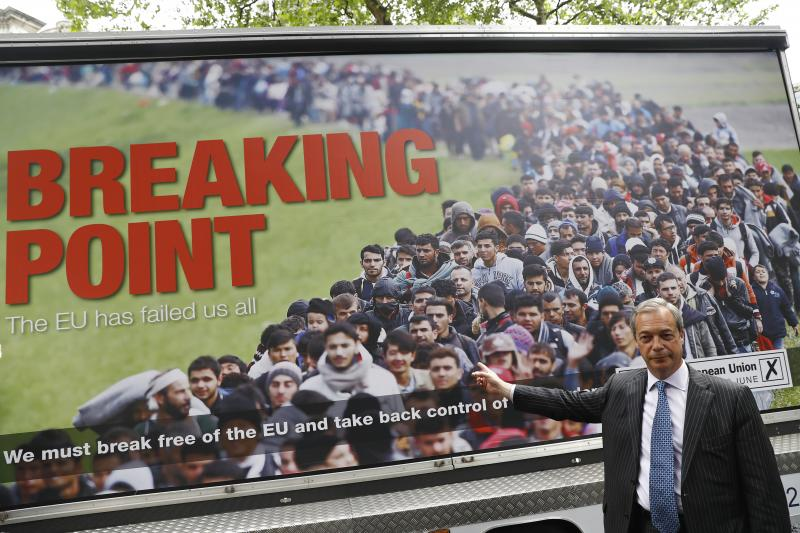 Nigel Farage at the launch of a new campaign poster in London, June 2016
