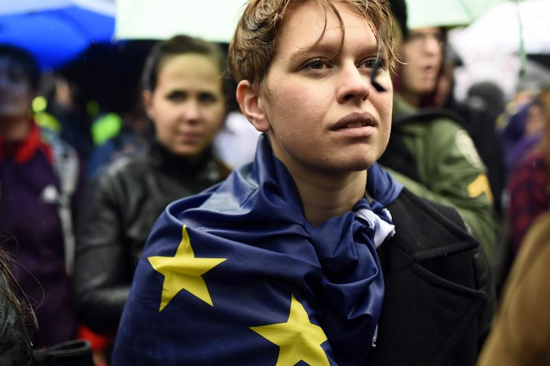 A demonstrators wears an EU flag at a protest aimed at showing London's solidarity with the European Union after the referendum, June 2016
