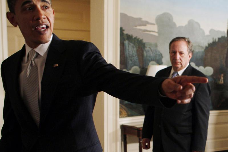 U.S. PresidentBarack Obama and Larry Summers, Chairman of the White House's National Economic Council, in Washington, DC, June 2009