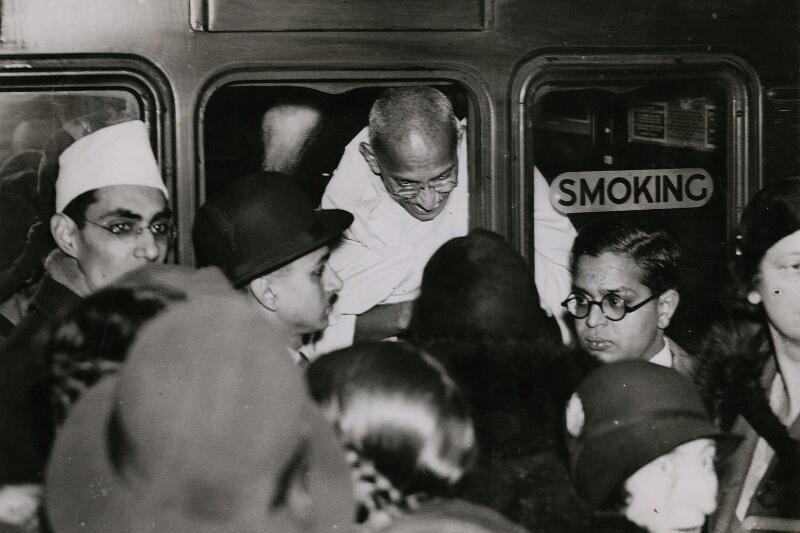 Gandhi at Victoria Station in London, December 1931