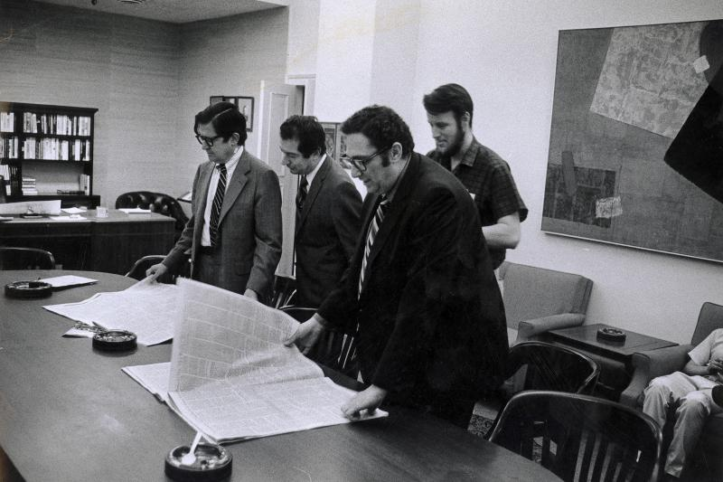 New York Times staffwith the first newspapers that carried the Pentagon Papers, in New York City, 1971
