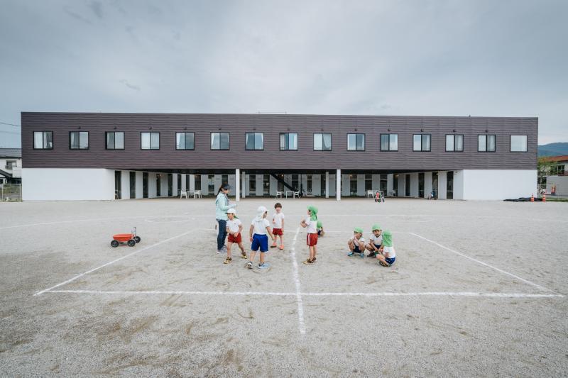 Children in the playground of a nursery school in Ukiha, Japan, May 2017