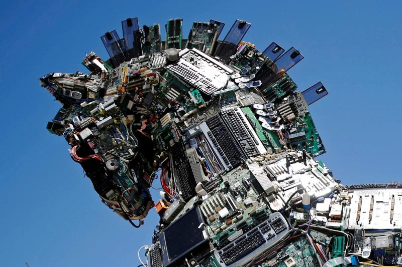 """A """"Cyber Horse""""made from infected computer and cell phone bits, Israel, June2016"""