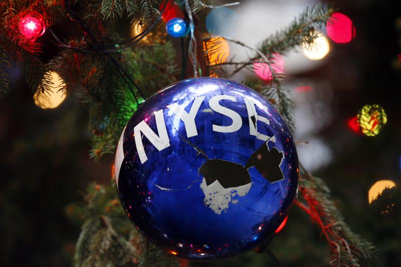 An ornament on the New YorkStock Exchange's official Christmas tree,December 2008