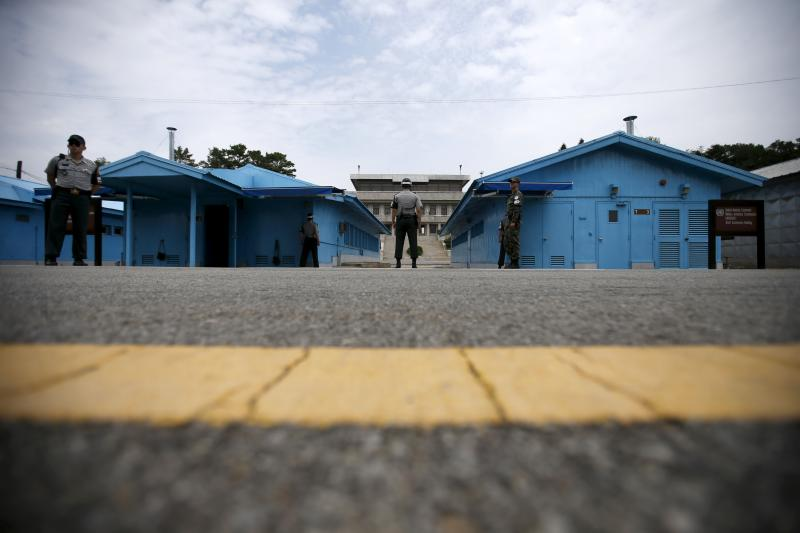 South Korean soldiers stand guard at the truce village of Panmunjom, South Korea, July 22, 2015.