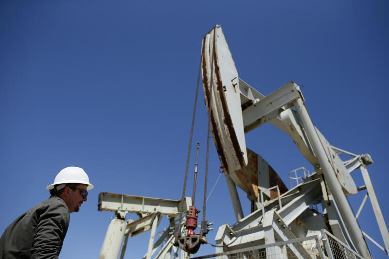 A pumpjack brings oil to the surface in the Monterey Shale, California, April 29, 2013.