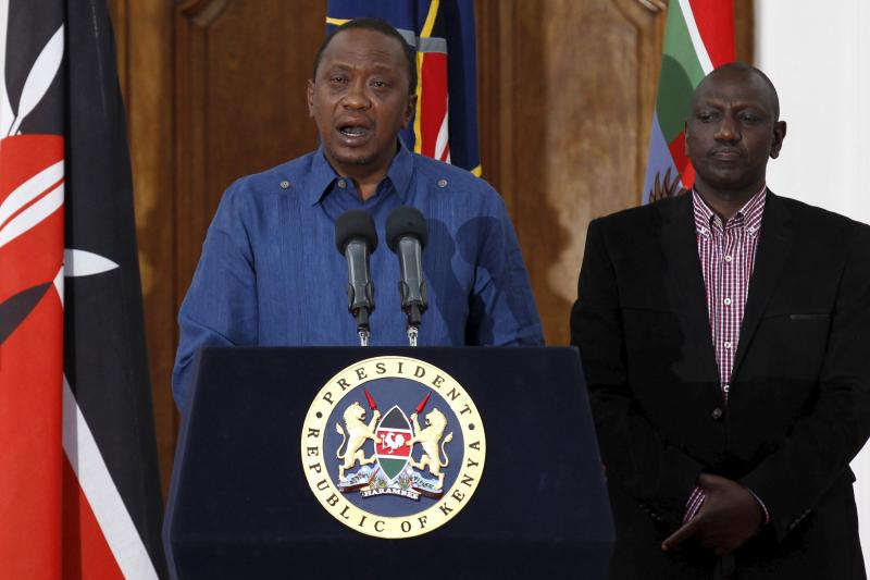 President Uhuru Kenyatta addresses a news conference at the State House in the capital Nairobi, April 4, 2015.