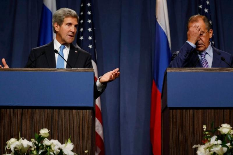 U.S. Secretary of State John Kerry and Russian Foreign Minister Sergey Lavrov speak to the media.