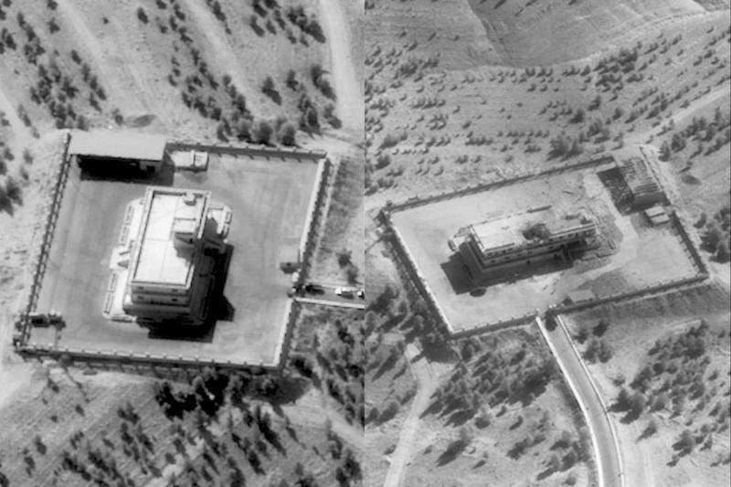 Pictures showing an ISIS Command and Control Center in Syria before and after it was struck by bombs dropped by a U.S. F-22 figh