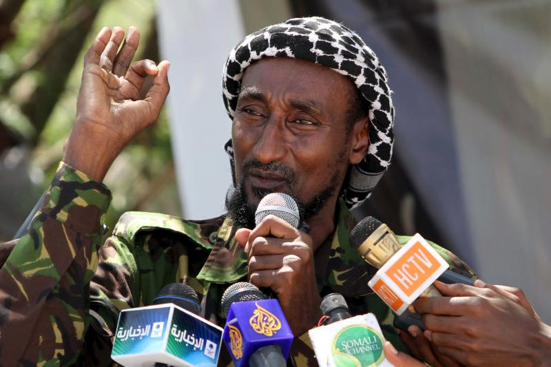 An al Shabab officer, Mohamed Mohamud, addresses a news conference in January 2011.