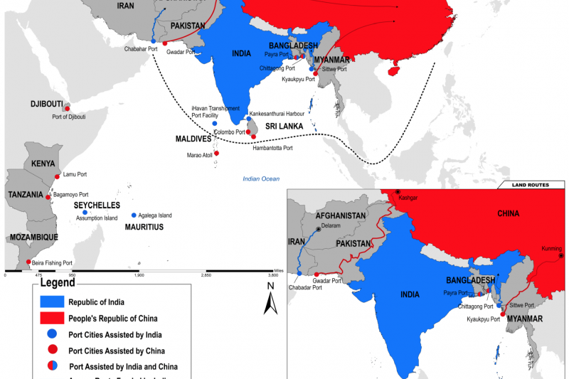 Map of Indian and Chinese Ports in the Indo-Pacific