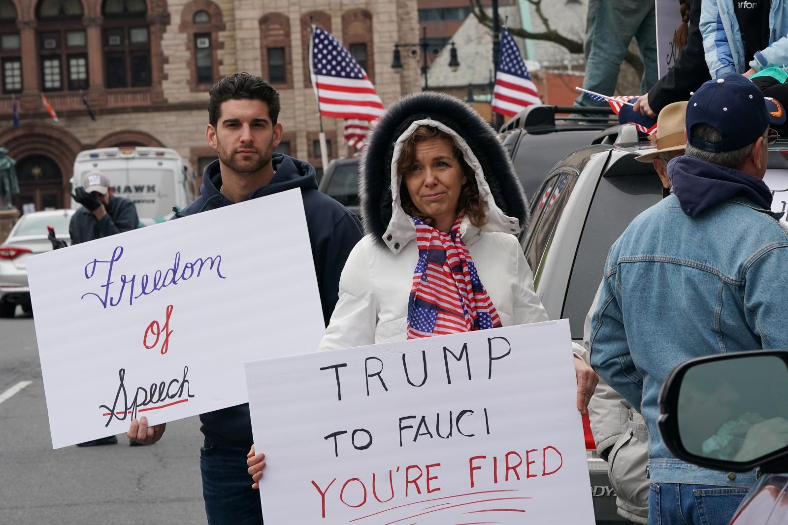 Albany, New York'taki New York Eyaleti Meclis Binası'nda bir protesto, Nisan 2020