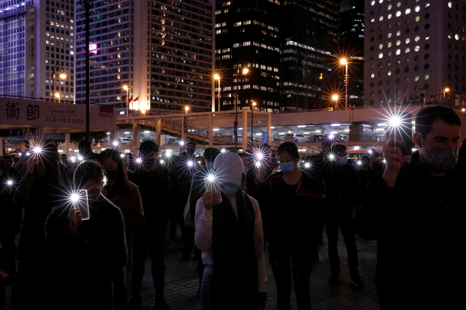Anti-government demonstrators in Hong Kong, December2019