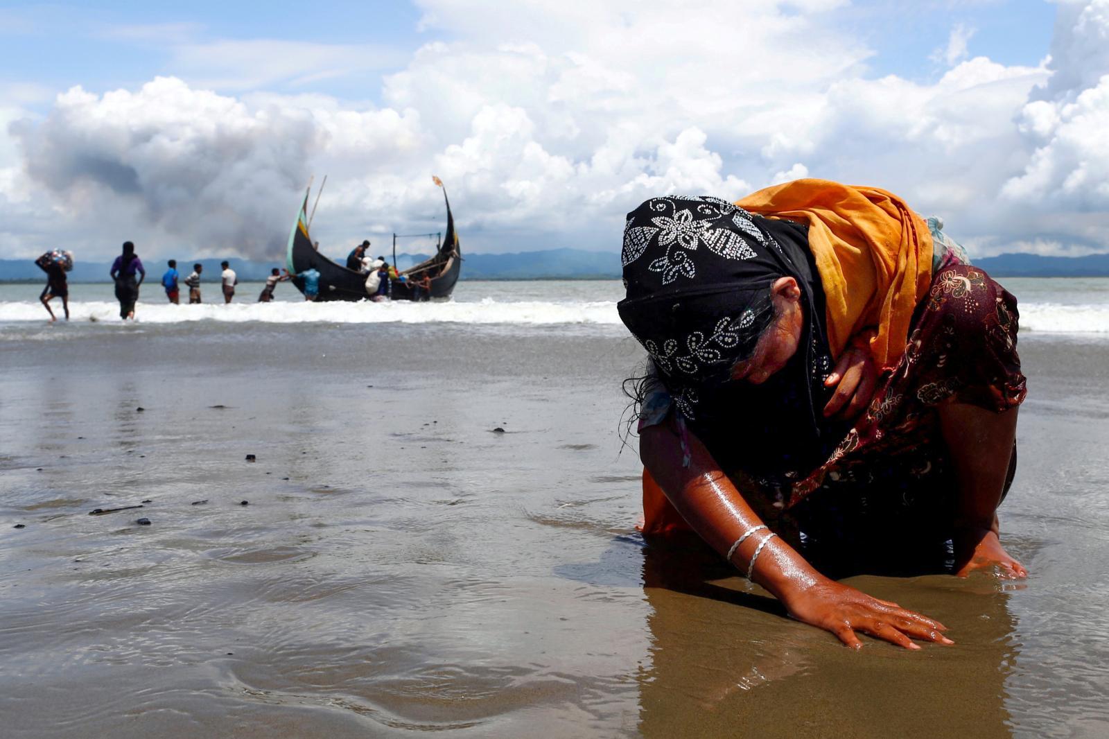 ARohingya refugee from Myanmar arrivingin Shah Porir Dwip, Bangladesh, September 2017