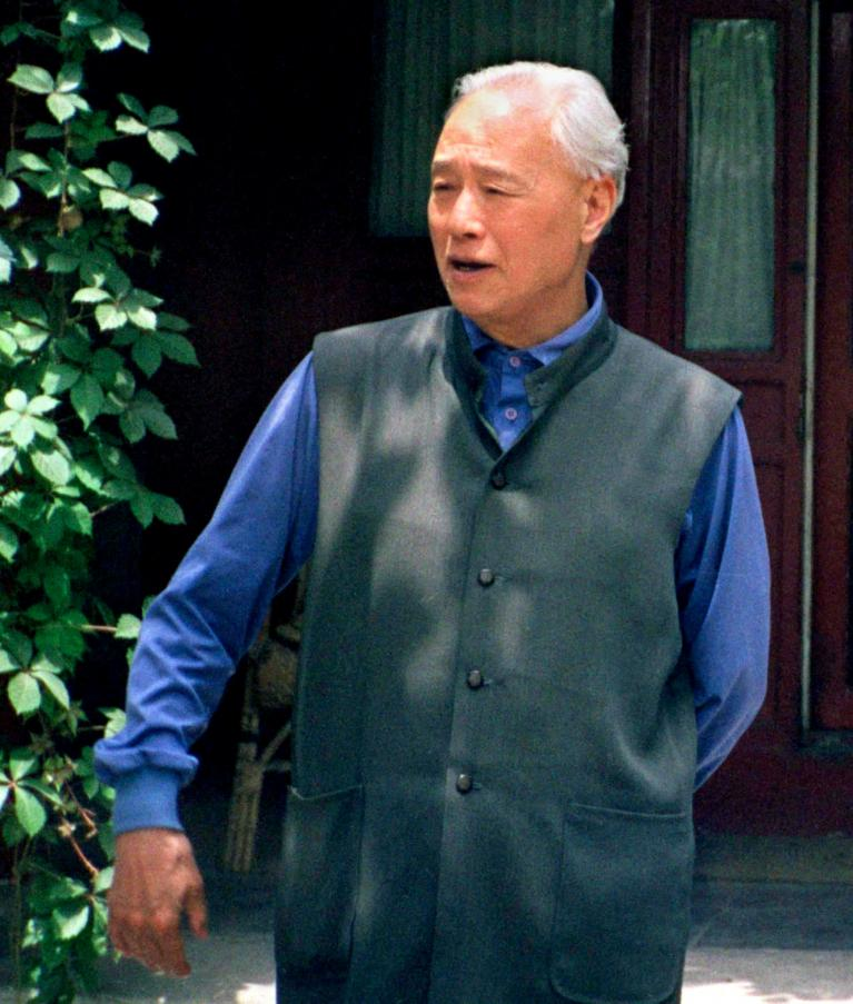 Former Communist Party chief Zhao Ziyang in the garden of his home in central Beijing, China, June 1998